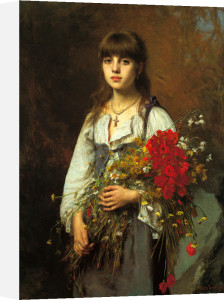 The Flower Girl by Alexei Alexeiewitsch Harlamoff