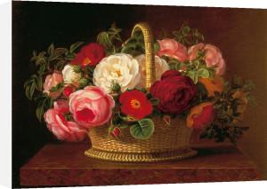 Roses in a Basket on a Ledge by Jodi Jensen