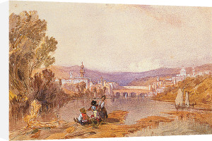 Figures beside the arno near Florence by Alfred Vickers