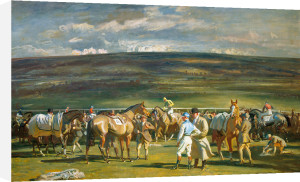 In the saddling Paddock, March Meet by Sir Alfred Munnings