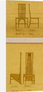 Design For Chairs Shown In Front And Side Elevation, 1903, For The Room De Luxe, Willow Tea Rooms by Charles Rennie Mackintosh