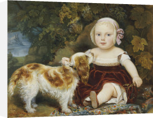A Young Child With A Brown And White Spaniel By A Leafy Bank by Amila Guillot-Saguez