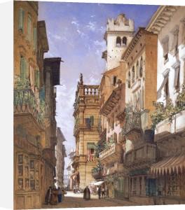Verona: Corso Sant' Anastasia And The Palazzo Maffei, 1855 by William Callow