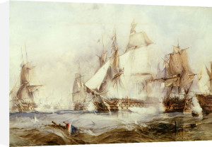 The Battle Of Traflagar: The Victory Breaking The Line by George Chambers