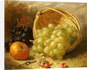 An Upturned Basket Of Grapes, An Apple And Other Fruit, 1873 by Eloise Harriet Stannard