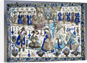 A Large Qajar Rectangular Tile by Anonymous