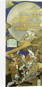 The Chinese Courtesan Yang Guifei Meeting Luo Gongyuan On A Cloud Outside The Moon Palace by Toyota Hokkei
