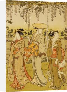 Three Women Viewing Wisteria At Kamedo by Torii Kiyonaga
