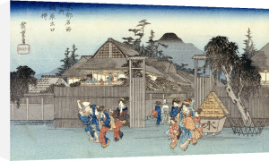 Willow At The Exit Of Shimabara. From The Series 'Famous Places Of Kyoto' by Ando Hiroshige