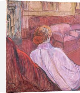 Woman Sat On A Red Settee by Henri de Toulouse-Lautrec