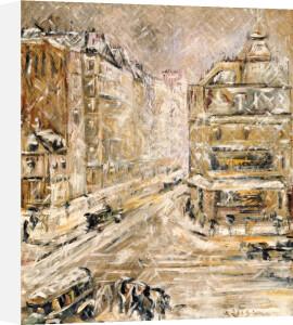 Rue De Clignacourt In The Snow, Circa 1924 by Gustave Loiseau