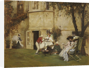 Tea In The Garden by Albert Chevallier Tayler