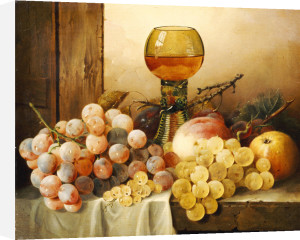 Fruit with Hock Glass on Draped Ledge by Edward Ladell
