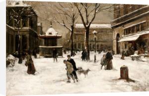 A Winter Street Scene, Paris by Luigi Aloys-François-Joseph Loir