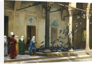 Harem Women Feeding Pigeons In A Courtyard by Jean-Leon Gerome