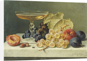 A Glass Of Champagne, Grapes Plums And A Peach On A Marble Ledge by Emilie Preyer