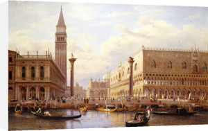 Piazzetta with the Doges Palace from the Bacino, Venice - 1847 by Hermann-David-Salomon Corrodi