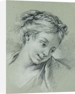 Head Of A Girl Looking Down To The Right by Francois Boucher