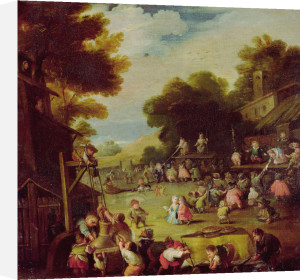 Pygmies At A Fair, Drawing Water From A Well In The Foreground by Faustino Bocchi