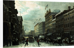 New York Winter Scene In Broadway by Hippolyte Victor Valentin Sebron