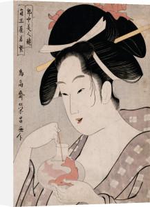 A Bust Portrait Of The Courtesan Wakamurasaki Of The Tsunotamaya by Chokyosai Eiri