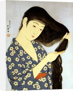 A Young Woman Combing Her Hair by Hashiguchi Goyo