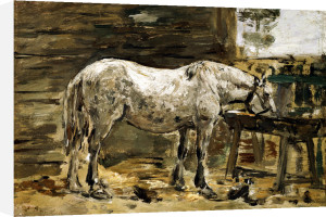 White Horse At The Drinking Trough by Eugene Louis Boudin