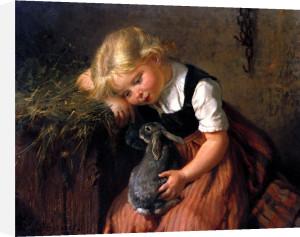 Girl with Pet Rabbit by Felix Schlesinger