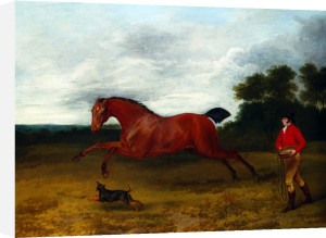 A Groom With A Terrier Bringing In A High Spirited Stallion by Sawrey Gilpin