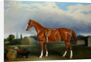 A Chestnut Hunter And A Spaniel By Farm Buildings by John Ferneley