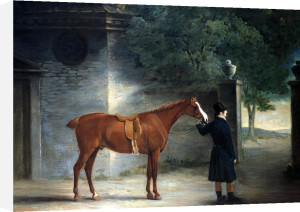 A Hunter And Groom In A Courtyard by John Ferneley