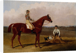 Barefoot, The Racehorse, With A Jockey Up And A Groom by John Frederick Herring