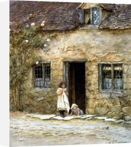 At The Cottage Door by Helen Allingham