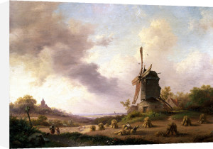 Harvesters In An Extensive Landscape by Frederik Kruseman