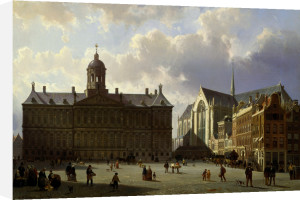 Dam Square With The Royal Palace, Amsterdam by Cornelis Springer