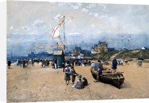 Figures On The Beach, At Deauville Or Trouville by Luigi Aloys-François-Joseph Loir