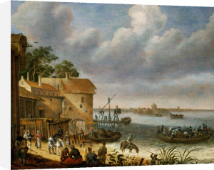 Peasants On The Beach With A Ferry by Adam Willaerts