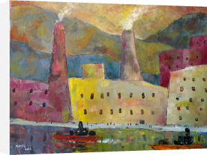 Factories by a Canal 1 by Jeremy Mayes