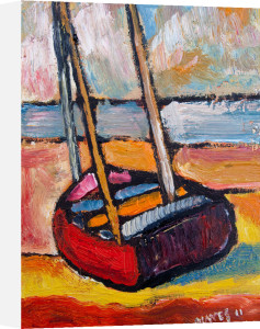 Beached Red Boat by Jeremy Mayes