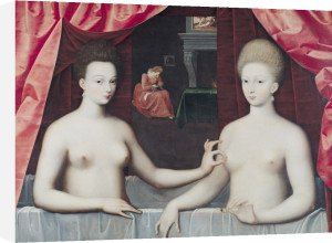 Gabrielle d'Estrees and her sister, the Duchess by Fontainebleau School