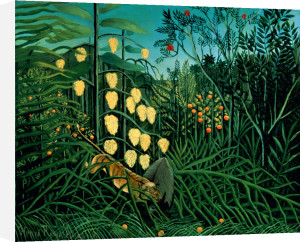 Tropical Forest: Battling Tiger and Buffalo, 1908 by Henri Rousseau
