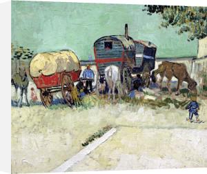 The Caravans Gypsy Encampment near Arles 1888 by Vincent Van Gogh