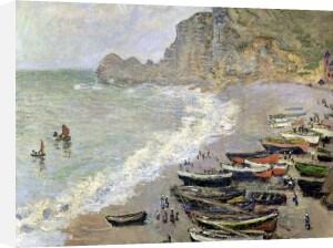 Etretat beach and the Porte d'Amont 1883 by Claude Monet