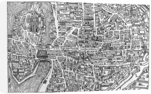 Detail from a map of Paris in the reign of Henri II 1552 by French School
