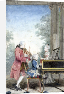 Leopold Mozart and Wolfgang Amadeus and Maria Anna by Louis Carrogis Carmontelle