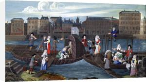 Fish Shop and Laundry Boat at the Quai de la Megisserie c.1670 by French School