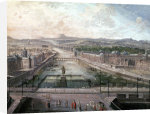 View of Place Dauphine and the Seine by French School
