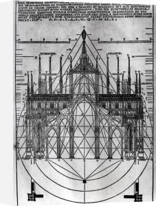 Design for Milan Cathedral from 'De Architectura' by Italian School