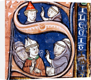 Historiated initial 'S' depicting Pope Gregory IX with bishops and abbots by French School