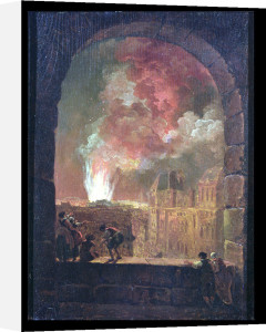 Fire at the Opera of the Palais-Royal View from the Louvre 1781 by Hubert Robert